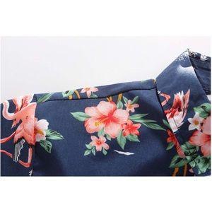 72d4cc84f SSLR Shirts | Flamingos Casual Short Sleeve Aloha Hawaiian Shirt ...